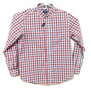 Men's Checkered Long Sleeve Button Down Shirt (L)